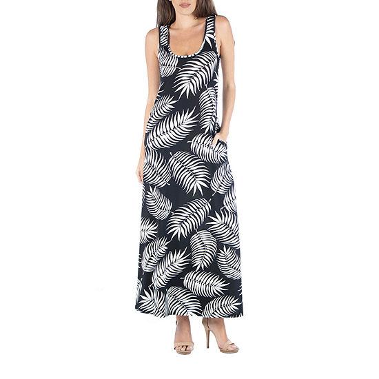24/7 Comfort Apparel Sleeveless Feather Print Maxi Dress