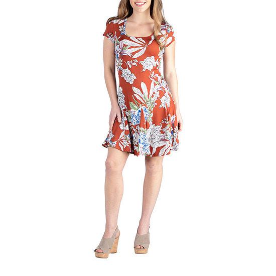 24/7 Comfort Apparel Short Sleeve Floral Dress