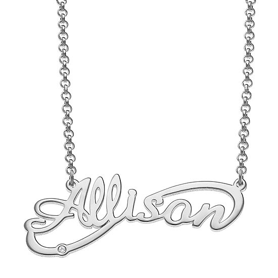 Womens Diamond Accent Diamond Accent Sterling Silver Pendant Necklace