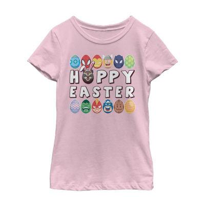 Happy Easter Hero Eggs Little Kid / Big Kid Girls Short Sleeve Marvel T-Shirt