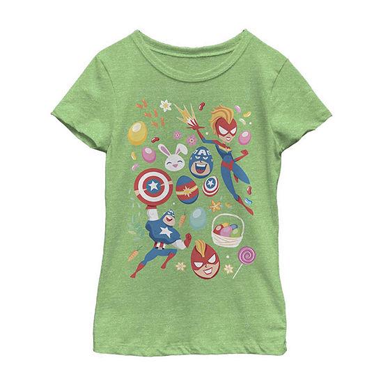 Easter Heroes Little /Big Kid Girls Short Sleeve Marvel T-Shirt