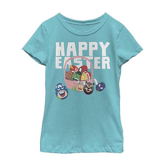 Happy Easter Hero Basket Girls Short Sleeve Marvel T-Shirt Little /Big Kid