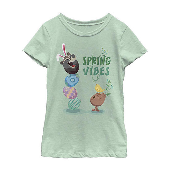 Guardians of The Galaxy Rocket Groot Easter Spring Vibes Little /Big Kid Girls Short Sleeve Marvel T-Shirt