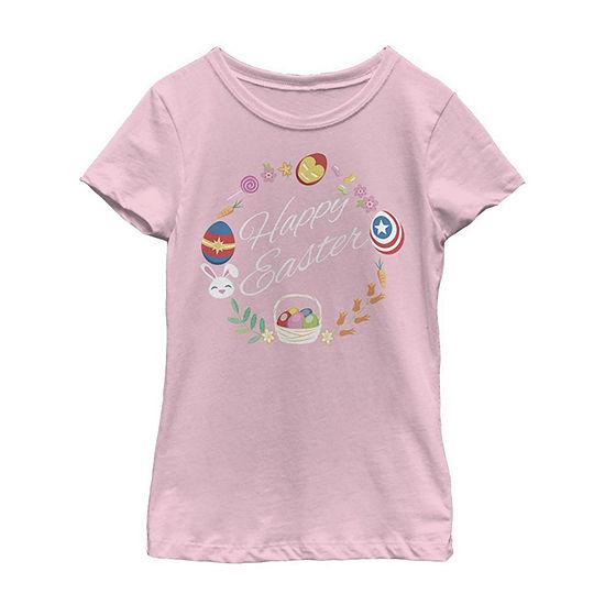 Happy Easter Hero Wreath Little/ Big Kid Girls Short Sleeve Marvel T-Shirt