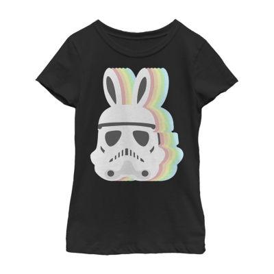 Easter Pastel Stormtrooper Bunny Mask Girls Short Sleeve Star Wars T-Shirt - Little/ Big Kid