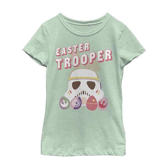 Easter Trooper Girls Short Sleeve Star Wars T-Shirt Little/ Big Kid