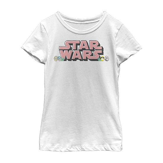 Easter Text Logo Girls Short Sleeve Star Wars T-Shirt Little /Big Kid