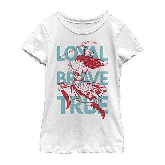 Loyal Brave True Text Girls Short Sleeve Mulan T-Shirt Little/ Big Kid