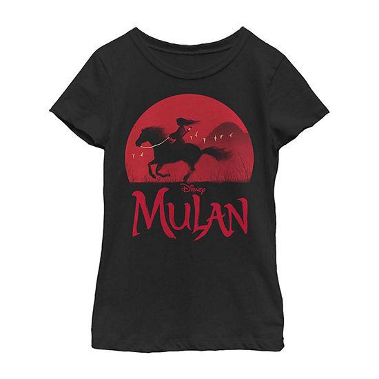 Red Sunset Silhouette Little/ Big Kid Girls Short Sleeve Mulan T-Shirt