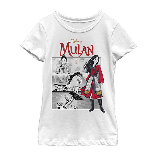 Comic Panels Little/ Big Kid Girls Short Sleeve Mulan T-Shirt