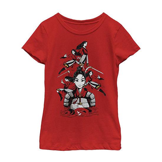 Many Warrior Poses Little/ Big Kid Girls Short Sleeve Mulan T-Shirt