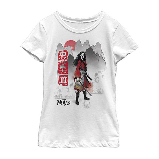 Loyal Brave True Watercolor Little/ Big Kid Girls Short Sleeve Mulan T-Shirt