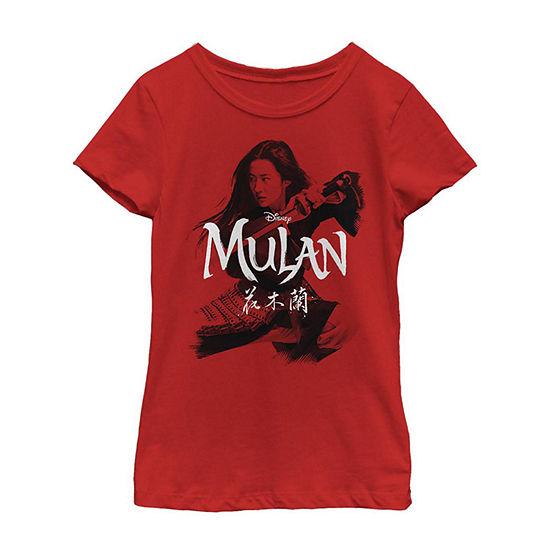 Title Portrait Girls Short Sleeve Mulan T-Shirt Little/ Big Kid