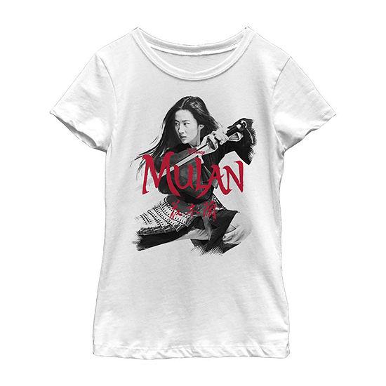 Fighting Stance Little/ Big Kid Girls Short Sleeve Mulan T-Shirt