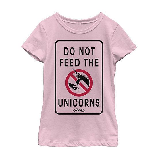 Disney Pixar Onward Do Not Feed The Unicorns Little/ Big Kid Girls Short Sleeve T-Shirt