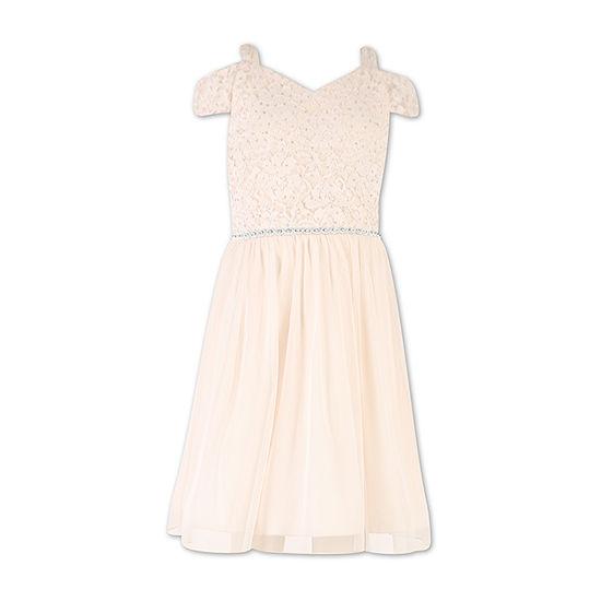 Speechless Big Girls Embellished Short Sleeve Cold Shoulder Sleeve Party Dress