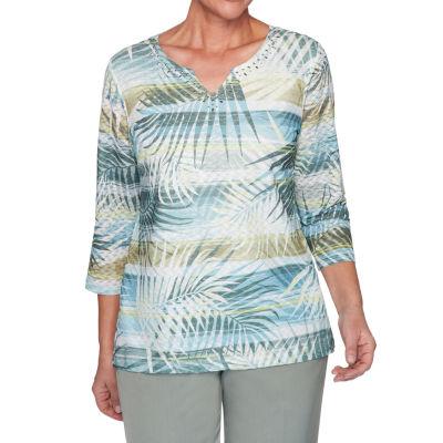 Alfred Dunner Chesapeake Bay-Womens Split Crew Neck 3/4 Sleeve T-Shirt