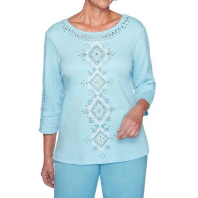 Alfred Dunner Chesapeake Bay-Womens Crew Neck 3/4 Sleeve T-Shirt