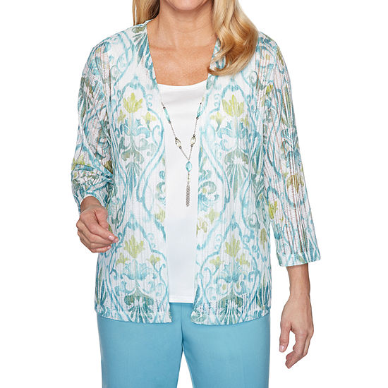 Alfred Dunner Chesapeake Bay Womens Scoop Neck 3/4 Sleeve Layered Top