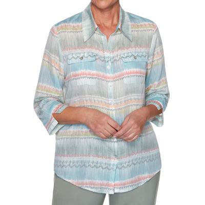 Alfred Dunner Chesapeake Bay Womens 3/4 Sleeve Blouse