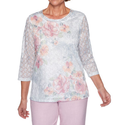 Alfred Dunner Primrose Garden-Womens Round Neck 3/4 Sleeve T-Shirt