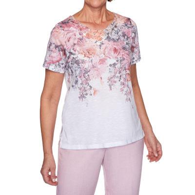 Alfred Dunner Primrose Garden-Womens Round Neck Short Sleeve T-Shirt