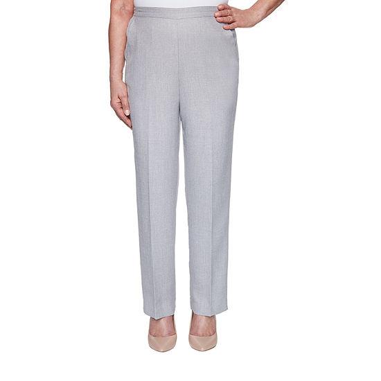 Alfred Dunner Primrose Garden Womens Straight Flat Front Pant
