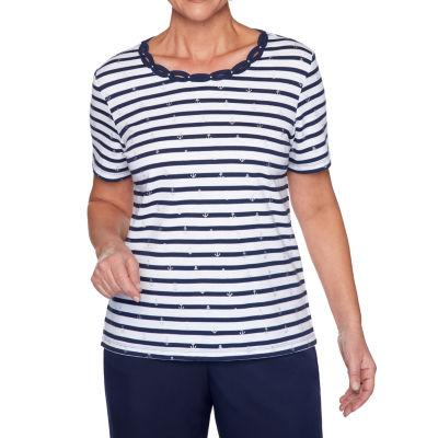 Alfred Dunner Ship Shape-Womens Round Neck Short Sleeve T-Shirt