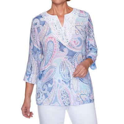 Alfred Dunner Petal Pushers-Womens Split Crew Neck 3/4 Sleeve T-Shirt