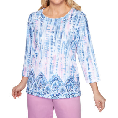 Alfred Dunner Petal Pushers-Womens Round Neck 3/4 Sleeve T-Shirt