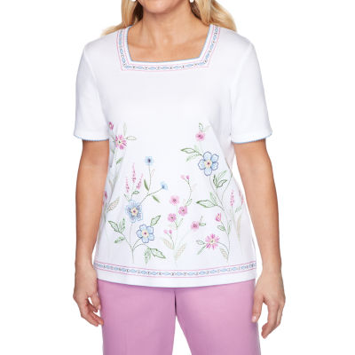 Alfred Dunner Petal Pushers-Womens Square Neck Short Sleeve T-Shirt