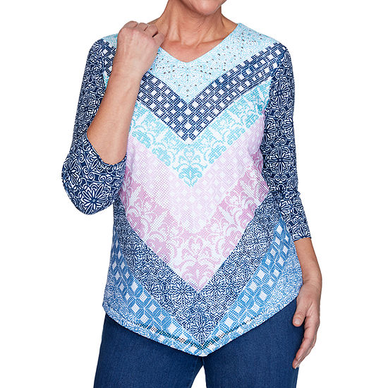 Alfred Dunner Petal Pushers-Womens V Neck 3/4 Sleeve T-Shirt