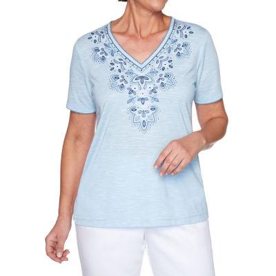 Alfred Dunner Petal Pushers-Womens V Neck Short Sleeve T-Shirt
