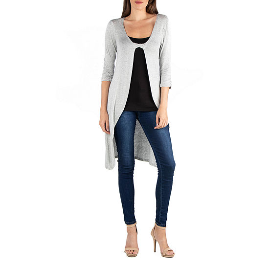 24/7 Comfort Apparel Twist Front 3/4 Sleeve Cardigan