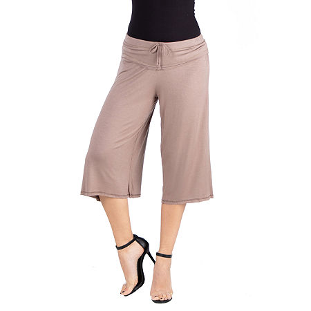 24/7 Comfort Apparel Loose Fit Straight Soft Drawstring Pant, 1x , Brown