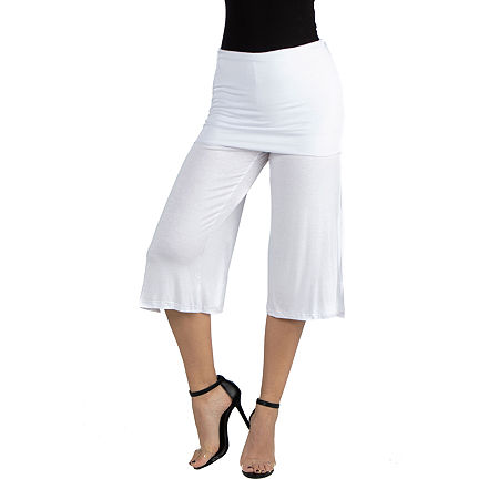 24/7 Comfort Apparel Cropped Elastic Straight Pant, Large , White