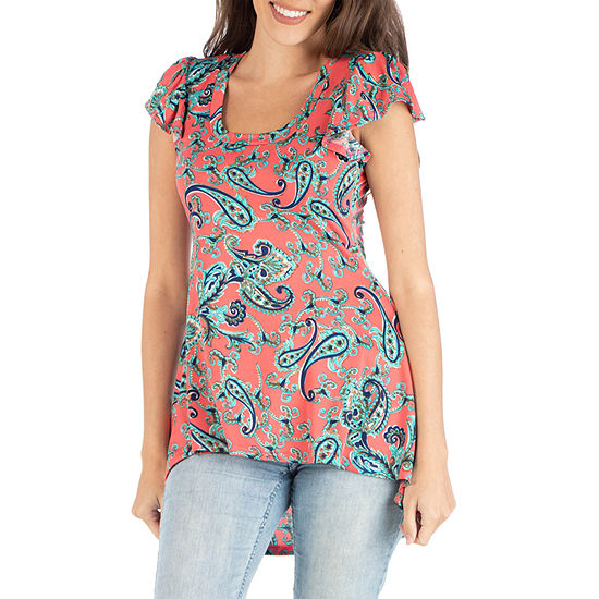 24/7 Comfort Apparel Tunic Top With Coral Paisley Design