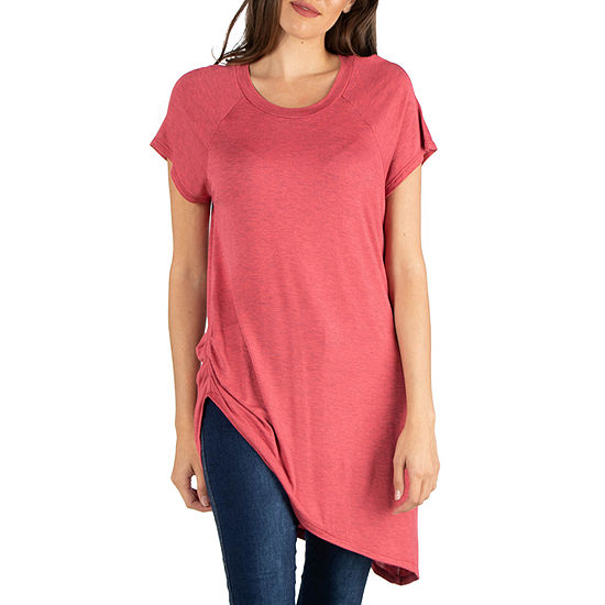 24/7 Comfort Apparel Cap Sleeve T Shirt with Asymmetric Hem