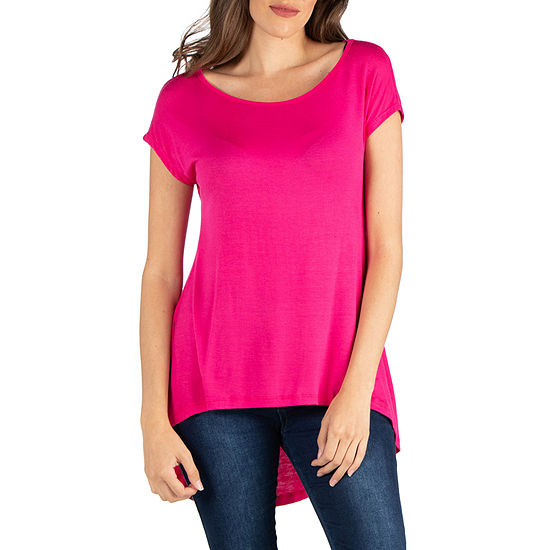 24/7 Comfort Apparel Scoop Neck High Low T-Shirt