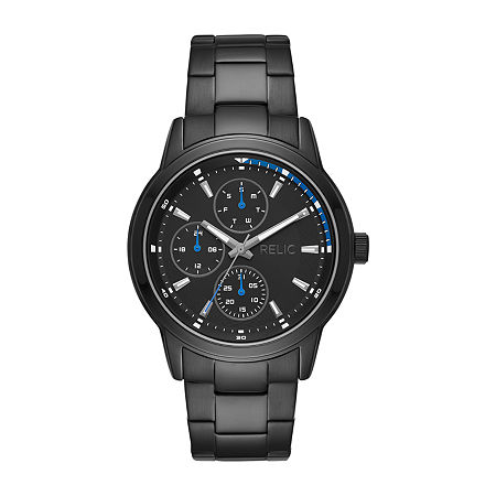 Relic By Fossil Kaden Mens Multi-Function Black Stainless Steel Bracelet Watch - Zr12623, One Size
