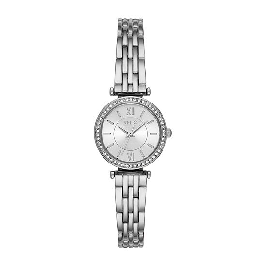 Relic By Fossil Kimberly Womens Crystal Accent Silver Tone Bracelet Watch-Zr34590