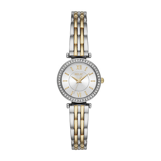 Relic By Fossil Kimberly Womens Crystal Accent Two Tone Bracelet Watch-Zr34593