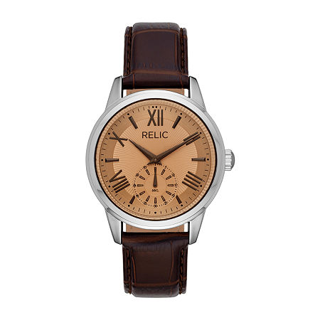 Relic By Fossil Myles Mens Brown Leather Strap Watch-Zr77325, One Size