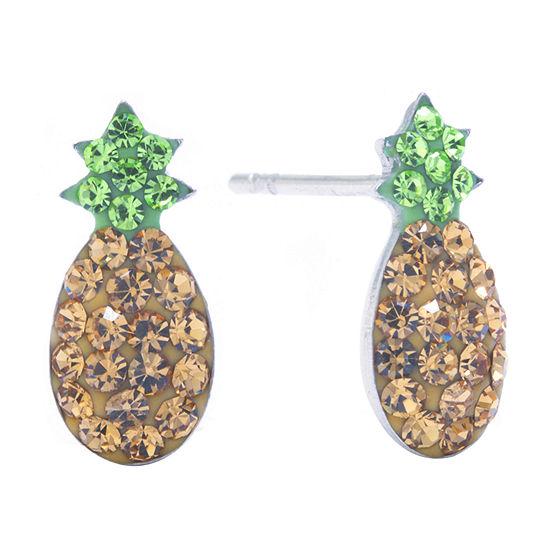 Silver Treasures Multi Color Crystal Sterling Silver 12mm Stud Earrings