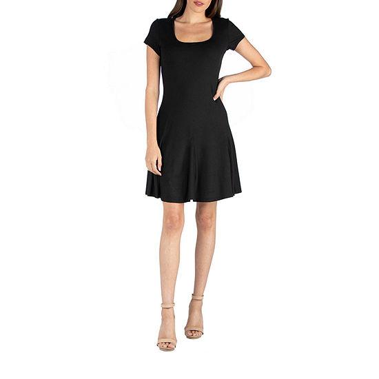 24/7 Comfort Apparel Cap Sleeve Knee Length Mini Dress