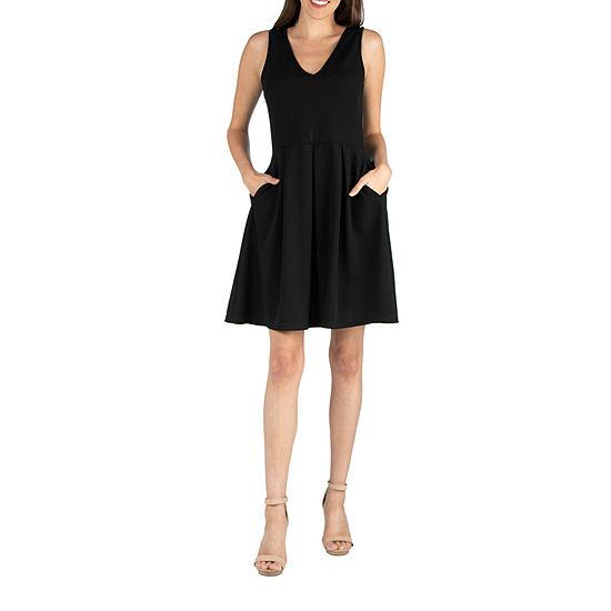 24/7 Comfort Apparel Sleeveless V Neck A-Line Dress