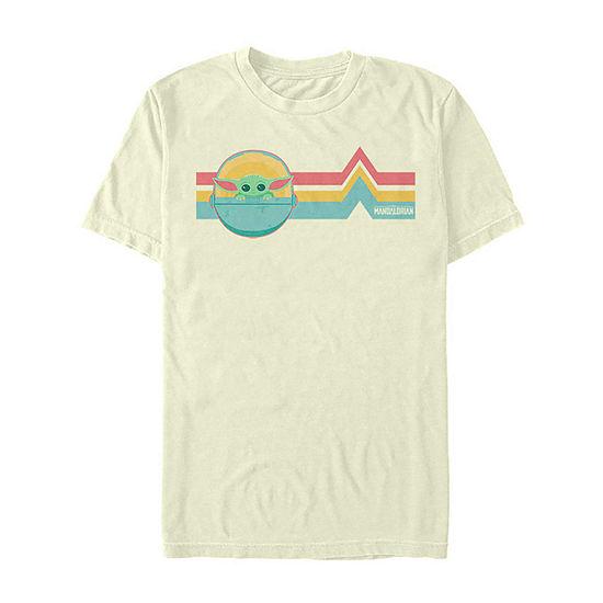 Star Wars The Mandalorian The Child Rainbow Chest Lines Mens Crew Neck Short Sleeve Star Wars T-Shirt