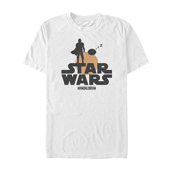 Star Wars The Mandalorian The Child Sunset Silhouette Logo Mens Crew Neck Short Sleeve Star Wars T-Shirt