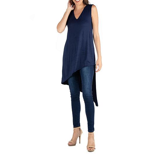 24/7 Comfort Apparel V Neck Sleeveless Tunic Asymmetric Hem