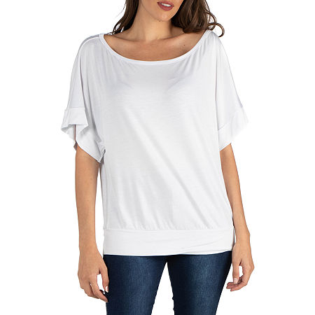 24/7 Comfort Apparel Loose Fit Dolman Top with Wide Sleeves, Small , White